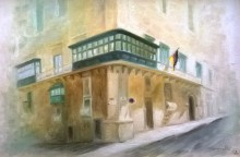 Painting of the facade of Messina Palace by Georgette Eminyan (1992)